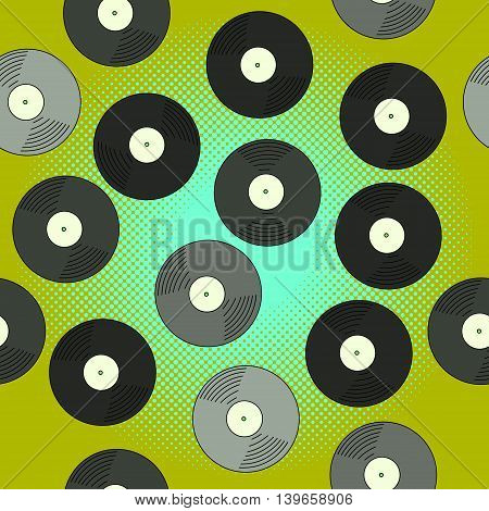 Gramophone record pop art vector illustration. Beautiful style comic seamless. Hand-drawn musical.