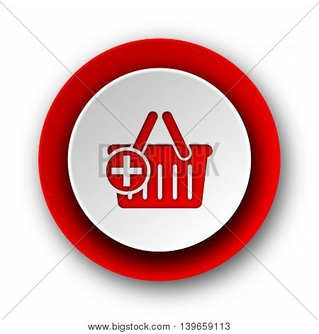 cart red modern web icon on white background