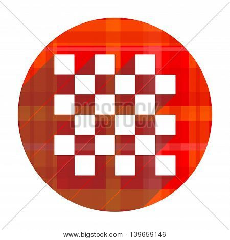 chess red flat icon isolated on white background