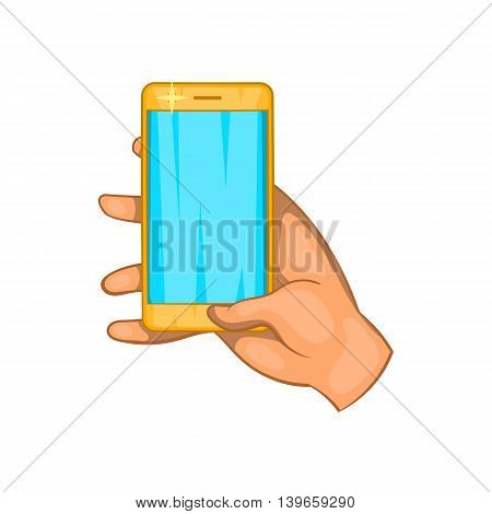 Hand works on a mobile phone icon in cartoon style isolated on white background. Communication symbol