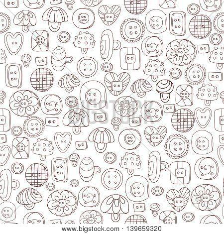 Seamless pattern of cartoon buttons. Vector illustration.