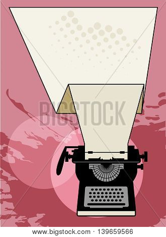 Vintage typewriter abstract pink background, vector illustration