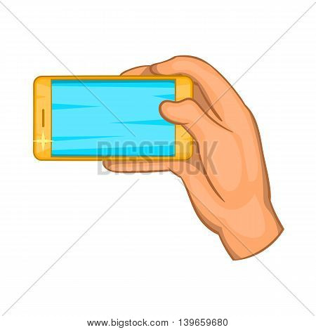 Hand works with a smartphone icon in cartoon style isolated on white background. Communication symbol