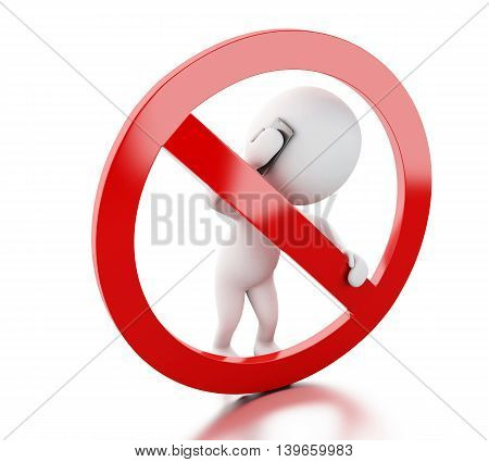 3d renderer image. White people speaking on the phone surrounded by a forbidden sign. Isolated white background.