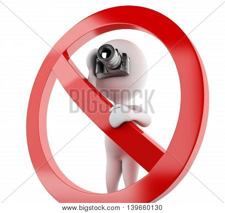 3d renderer image. White people taking photo surrounded by a forbidden sign. Isolated white background.