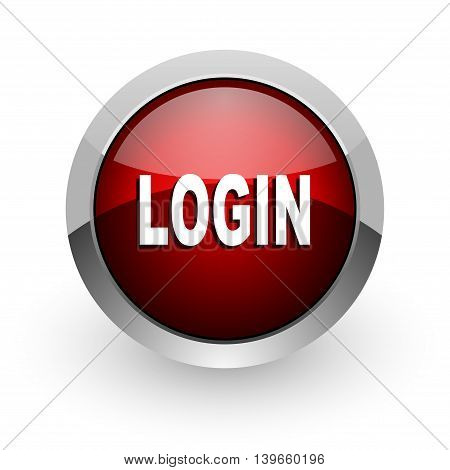 logout red circle web glossy icon on white background