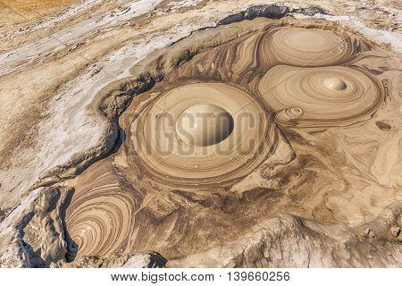 Active mud volcano crater Buzau Romania, outdoor shot
