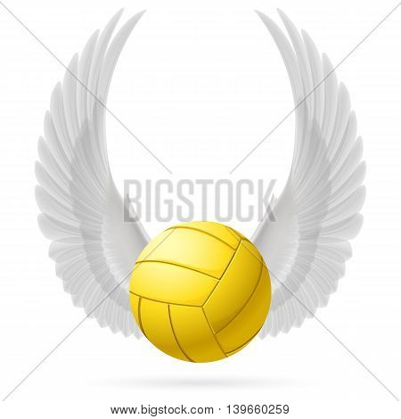 Realistic volley ball with raised up white wings emblem