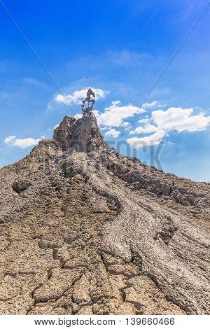 Eruption of active mud volcanoes, outdoor shot