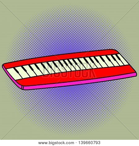 Piano pop art vector illustration. Beautiful style comic. Hand-drawn musical instrument.