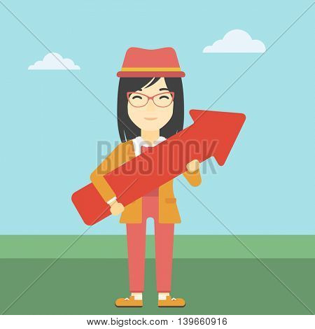 An asian  young business woman holding a big arrow in hands. Successful business concept. Vector flat design illustration. Square layout.