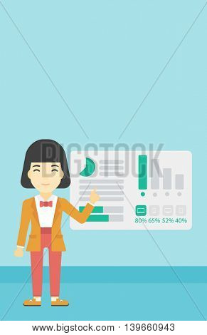 Business woman pointing at charts on a board during business presentation. Woman giving a business presentation. Business presentation in progress. Vector flat design illustration. Vertical layout.