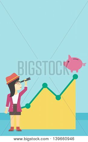 An asian young business woman looking through spyglass at a piggy bank standing at the top of growth graph. Vector flat design illustration. Vertical layout.