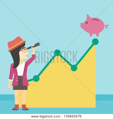 An asian young business woman looking through spyglass at a piggy bank standing at the top of growth graph. Vector flat design illustration. Square layout.