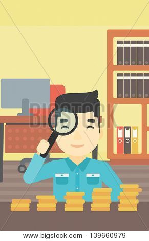 An asian  young businessman sitting in the office and looking at stacks of golden coins through magnifier. Vector flat design illustration. Vertical layout.