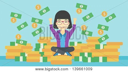 An asian  happy business woman with raised hands sitting on golden coins and money flying around. Successful business concept. Vector flat design illustration. Horizontal layout.
