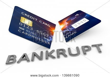 3d rendering of an expired cut credit card with the word bankrupt