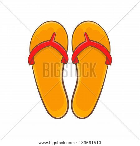Flips flops icon in cartoon style isolated on white background. Summer shoes symbol