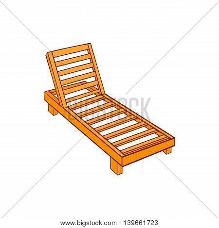 Wooden chaise lounge icon in cartoon style isolated on white background. Relax symbol