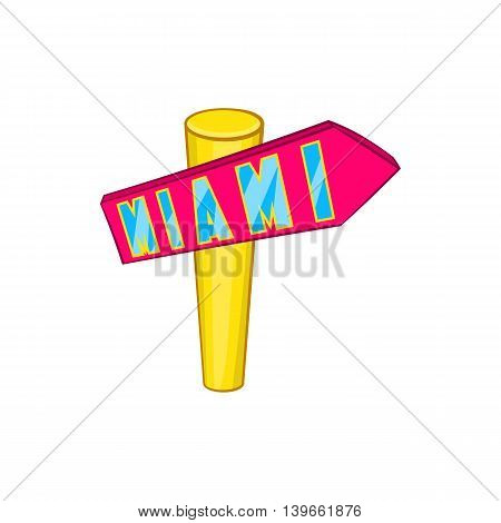 Signpost Miami icon in cartoon style isolated on white background. Indication symbol