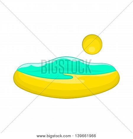 Beach and sun icon in cartoon style isolated on white background. Relax symbol