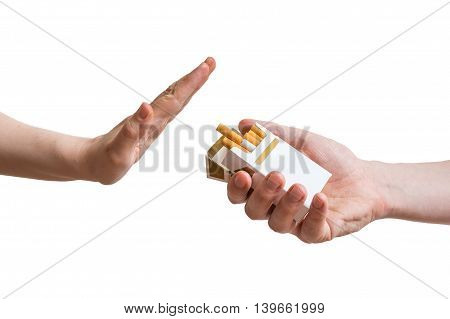 Quitting Smoking Concept. Hand Is Rejecting Cigarette Offer. Iso