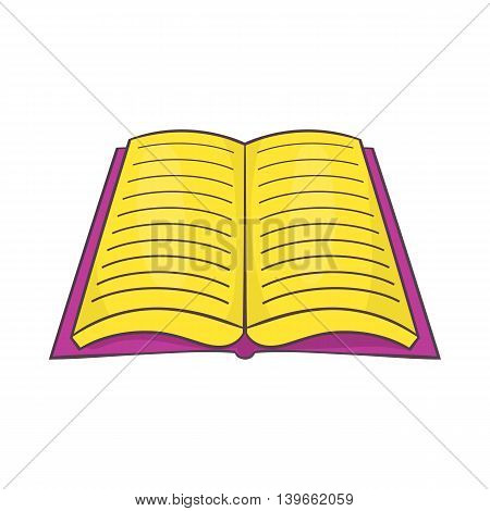 Open book with text icon in cartoon style isolated on white background. Reading symbol