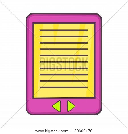 E-book icon in cartoon style isolated on white background. Reading symbol