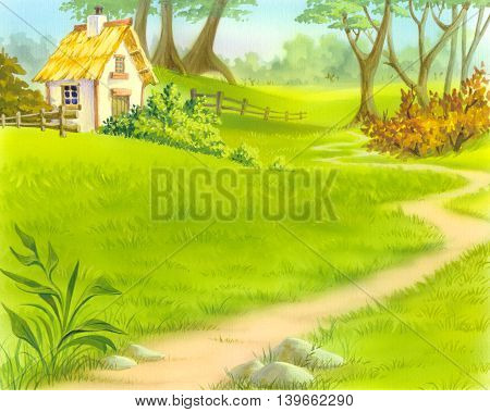 path near old wooden house. Cartoon Style Character Fairy Tale Story Background.