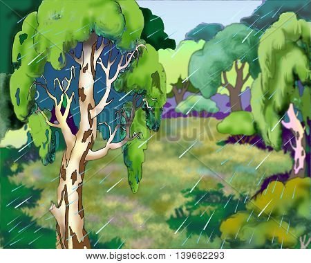 Forest on a Rainy Summer Day. Cartoon Style Character Fairy Tale Story Background