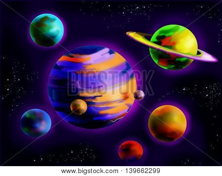 Fantastic Planets in Space. Cartoon Style Character Fairy Tale Story Background.