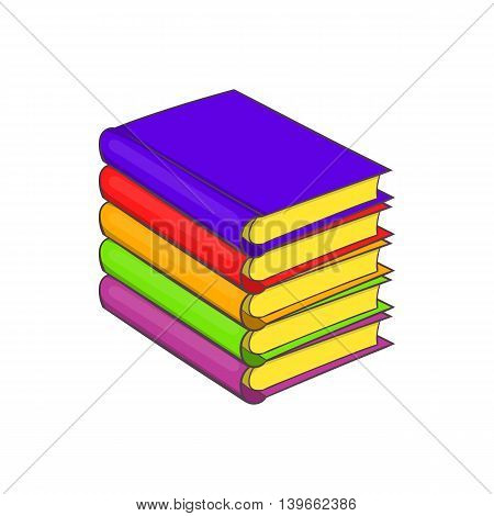 Stack of books icon in cartoon style isolated on white background. Reading symbol