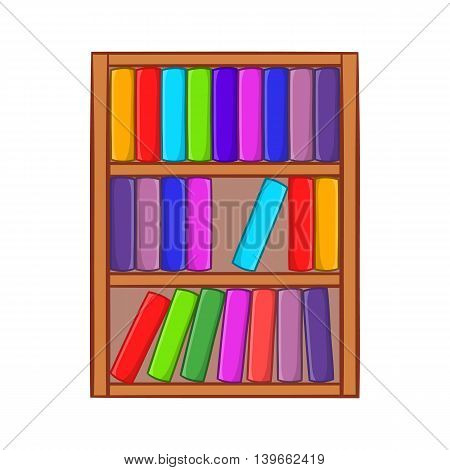 Shelf of books icon in cartoon style isolated on white background. Reading symbol