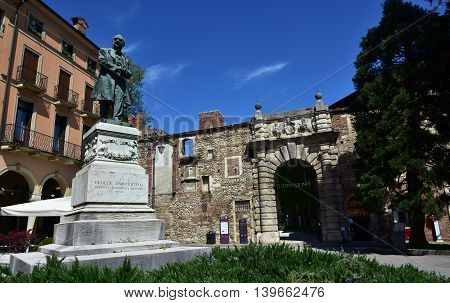 VICENZA, ITALY - APRIL 12: Teatro Olimpico (Olympic Theatre) one of the most famous landmarks  APRIL 12, 2016 in Vicenza, Italy