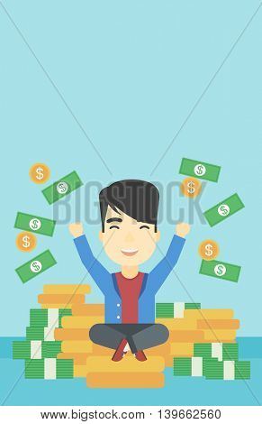 An asian  young businessman with raised hands sitting on golden coins and money flying around. Successful business concept. Vector flat design illustration. Vertical layout.