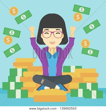 An asian  happy business woman with raised hands sitting on golden coins and money flying around. Successful business concept. Vector flat design illustration. Square layout.