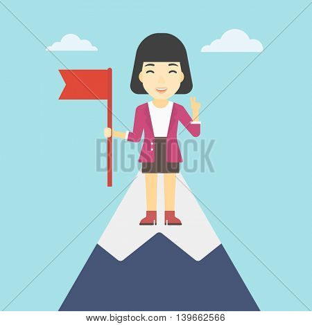 An asian  happy young leader business woman holding a red flag on the top of the mountain. Successful business concept. Vector flat design illustration. Square layout.