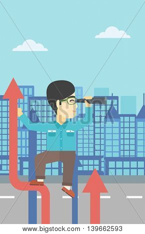 An asian young businessman standing on the top of arrow and looking through spyglass on the background of modern city. Vector flat design illustration. Vertical layout.