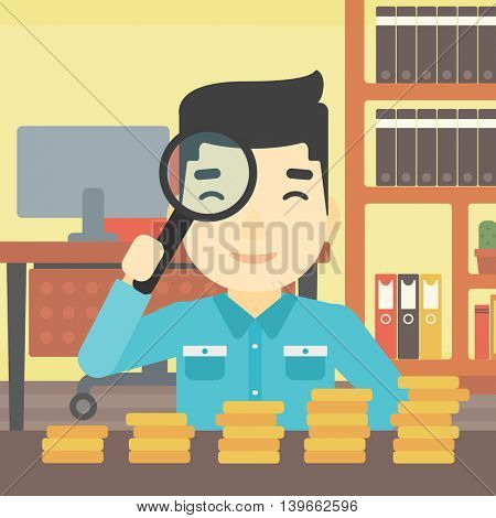 An asian  young businessman sitting in the office and looking at stacks of golden coins through magnifier. Vector flat design illustration. Square layout.