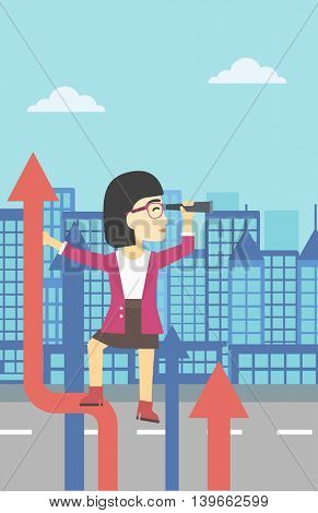 An asian young business woman standing on the top of arrow and looking through spyglass on the background of modern city. Vector flat design illustration. Vertical layout.