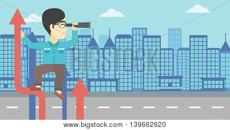 An asian young businessman standing on the top of arrow and looking through spyglass on the background of modern city. Vector flat design illustration. Horizontal layout.
