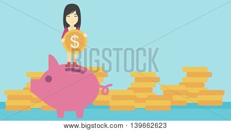 An asian young business woman saving her money by putting a coin in a big piggy bank on a background of stacks of gold coins. Vector flat design illustration. Horizontal layout.
