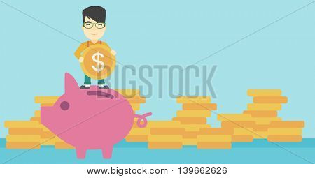 An asian young businessman saving money by putting a coin in a big piggy bank on a background of stacks of gold coins. Vector flat design illustration. Horizontal layout.