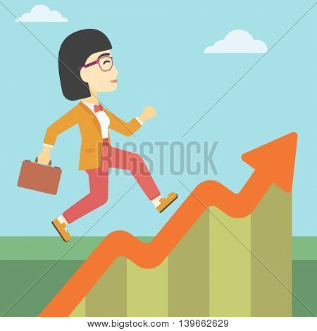 An asian cheerful business woman running along the growth graph. Happy business woman going up. Woman moving up. Successful business concept. Vector flat design illustration. Square layout.
