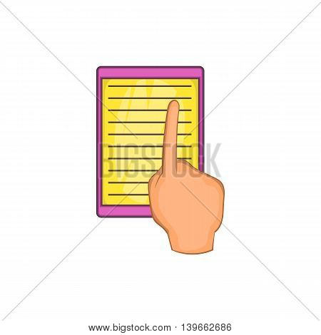E-book and hand icon in cartoon style isolated on white background. Reading symbol