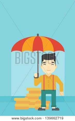 An asian  young businessman standing in the rain and holding an umbrella over coins. Business insurance concept. Vector flat design illustration. Vertical layout.