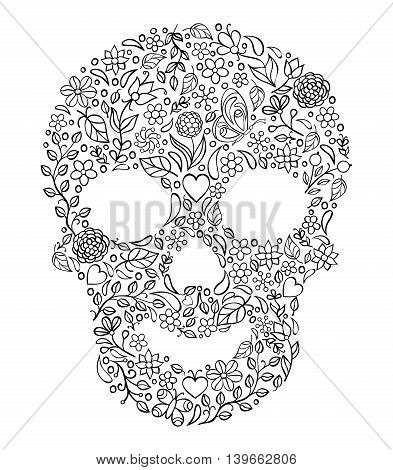 Vector Illustration of floral skull on white background.Coloring page for adult.