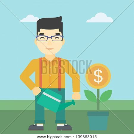 An asian  young businessman watering a money flower. Successful business concept. Vector flat design illustration. Square layout.