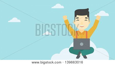 An asian  happy man with raised hands sitting on a cloud with a laptop. Vector flat design illustration. Horizontal layout.