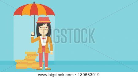 An asian young business woman standing in the rain and holding an umbrella over gold coins. Business insurance concept. Vector flat design illustration. Horizontal layout.